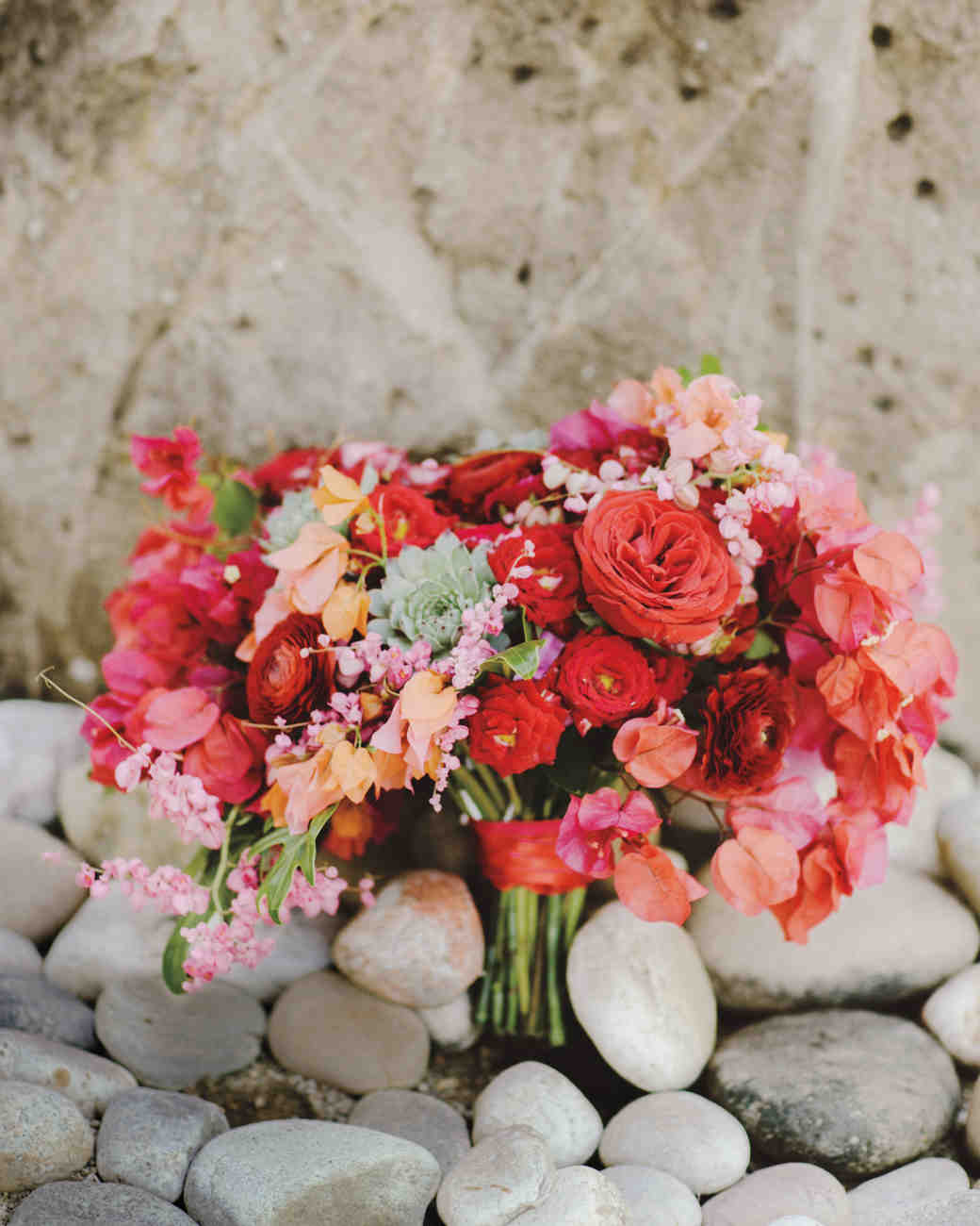 Red, Pink, and Orange Wedding Bouquet