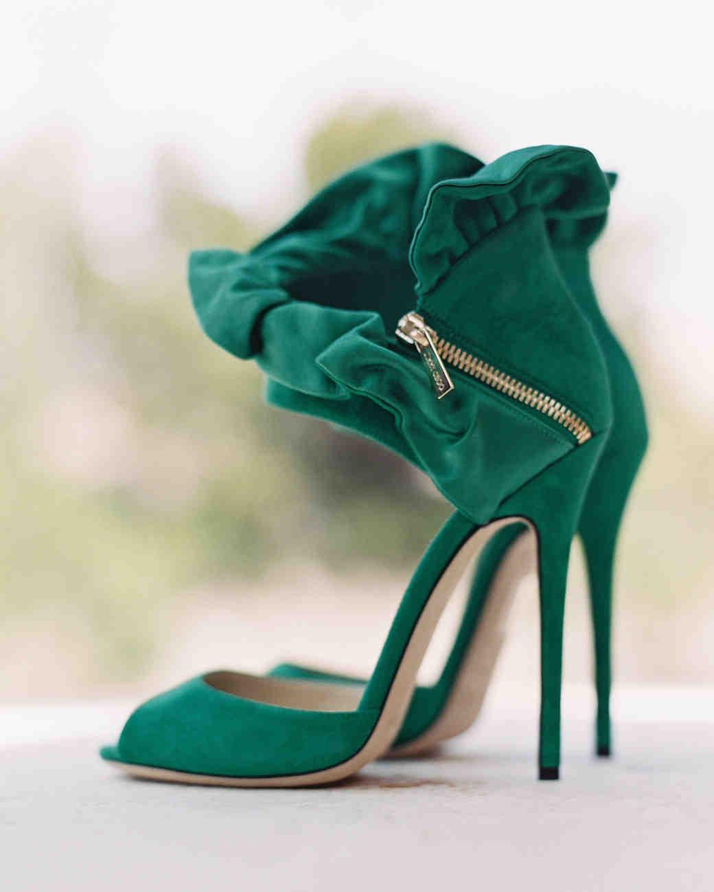 Ruffled Green Heels