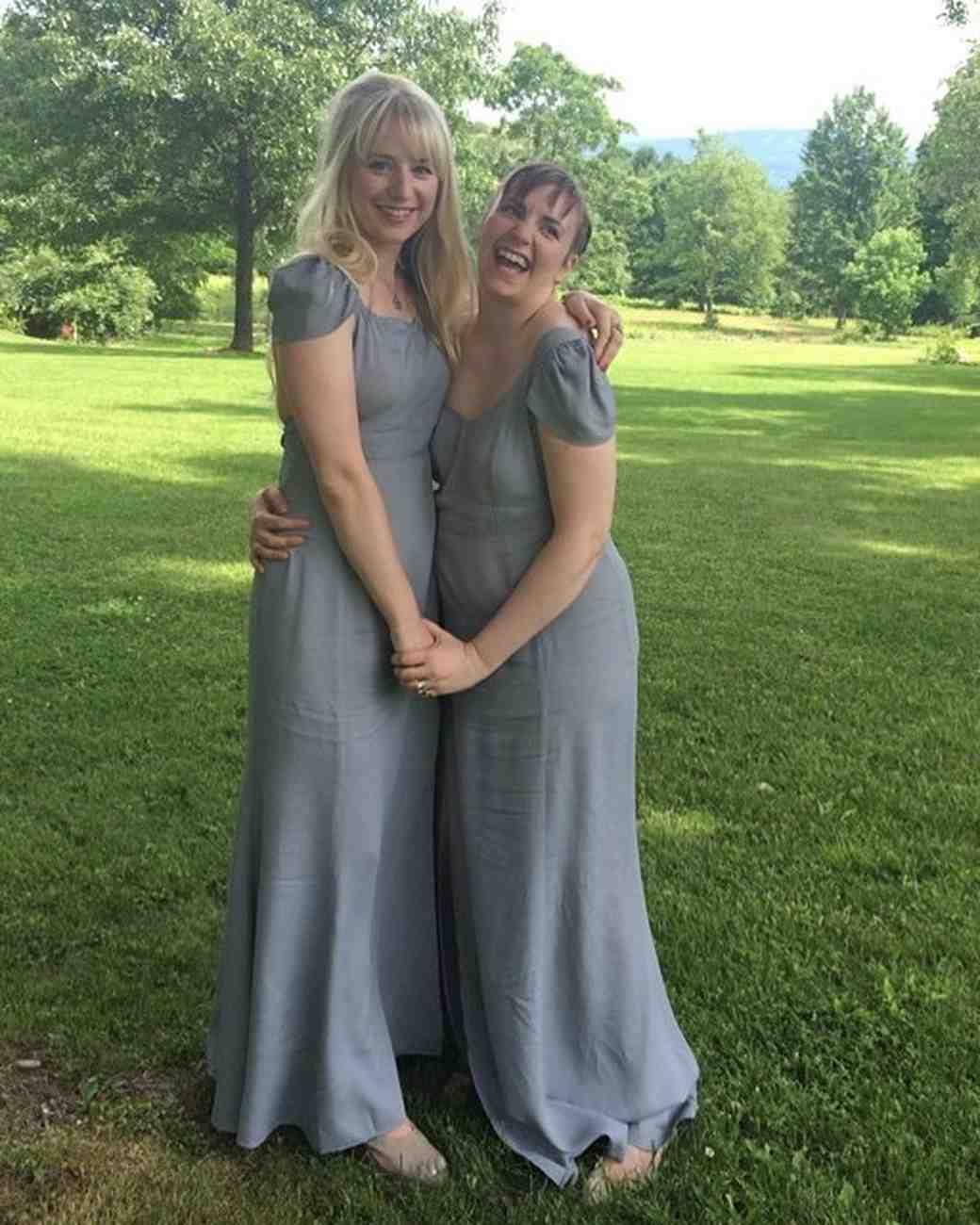 Lena Dunham was a bridesmaid at her friend's wedding