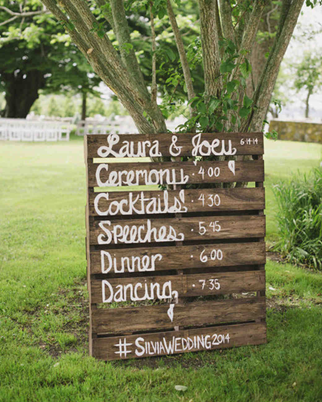 wedding schedule on palette