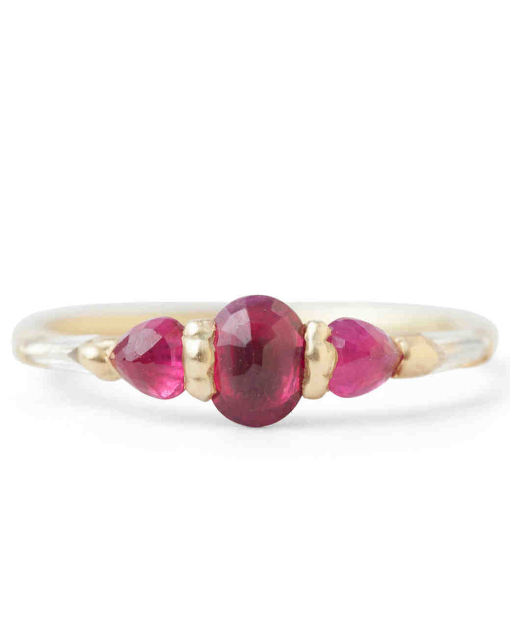 Polly Wales Three Stone Ruby Engagement Ring