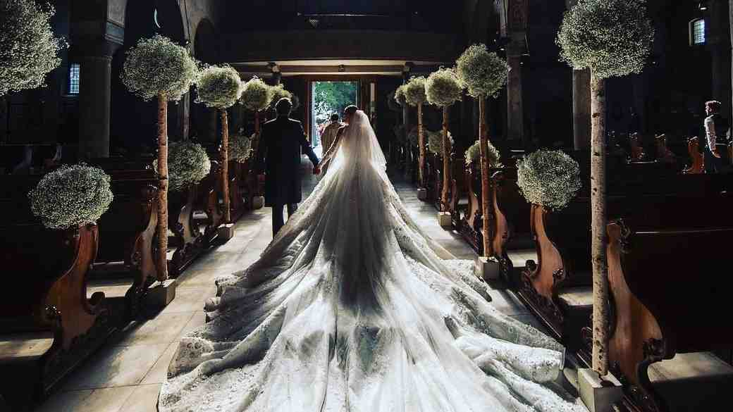 Victoria Swarovski wedding dress train