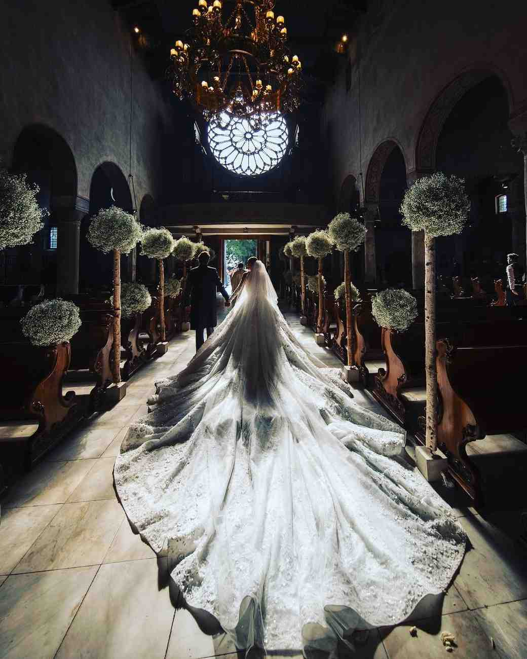 Victoria Swarovski wedding dress train