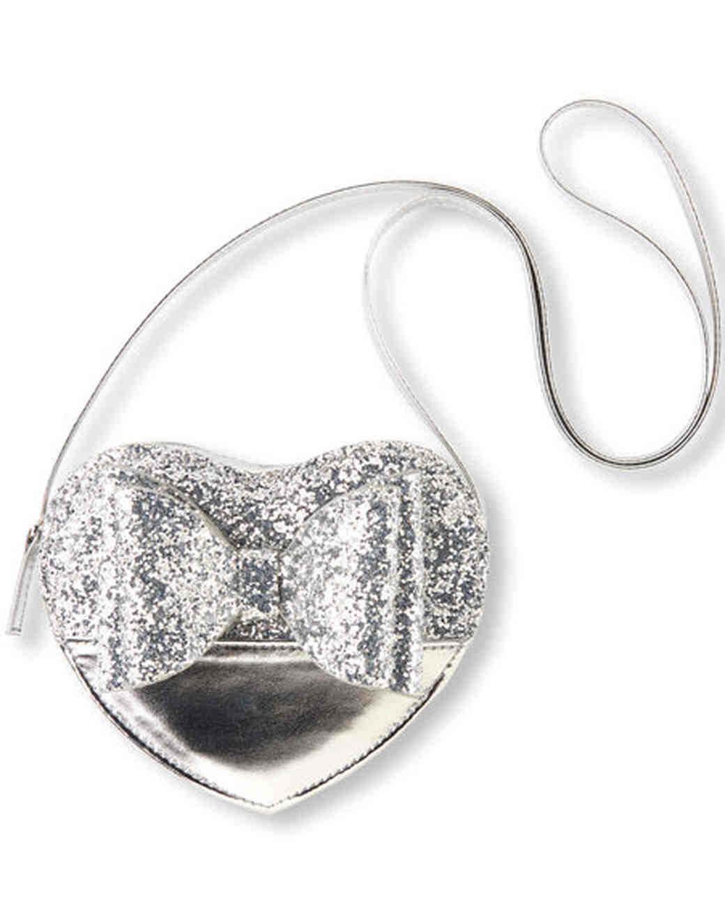 silver heart glitter bag flower girl