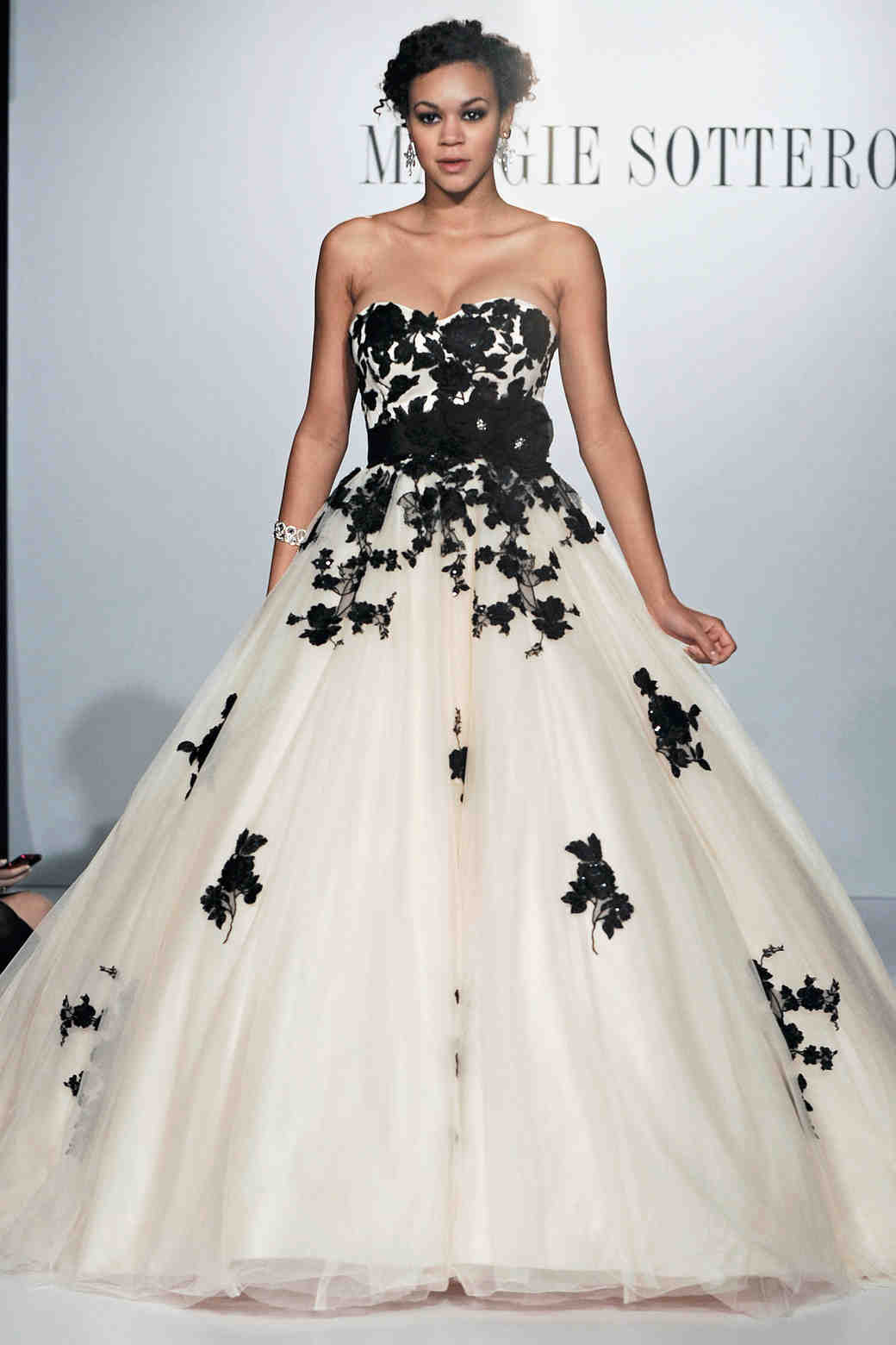 Maggie Sottero black and white wedding dress
