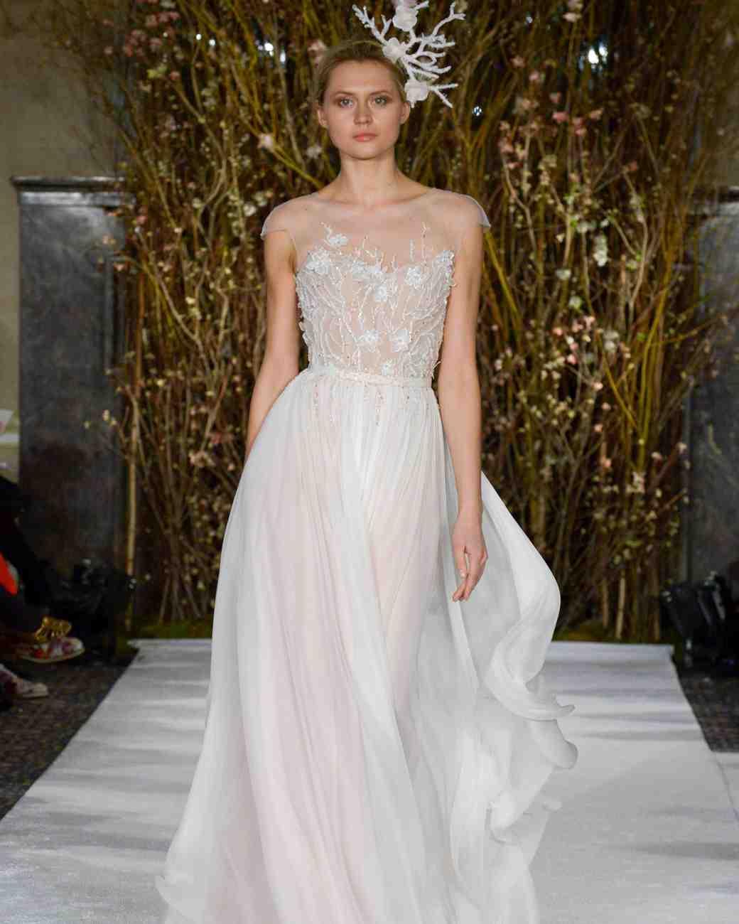 Mira Zwillinger blossom silk chiffon wedding dress