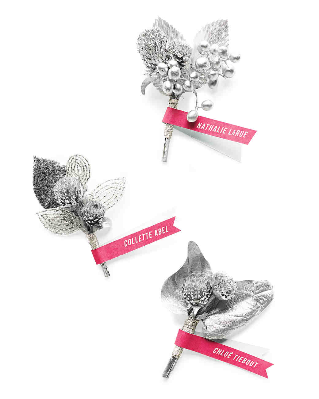Silver Boutonniere Name-Tags