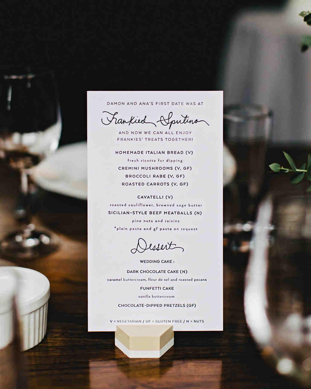ana and damon menu on table