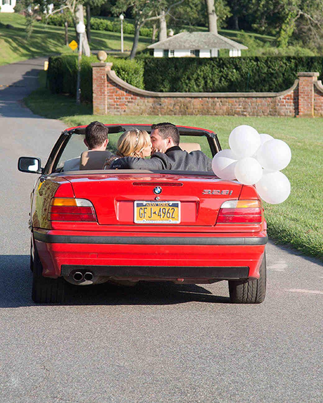 wedding car convertible with balloons