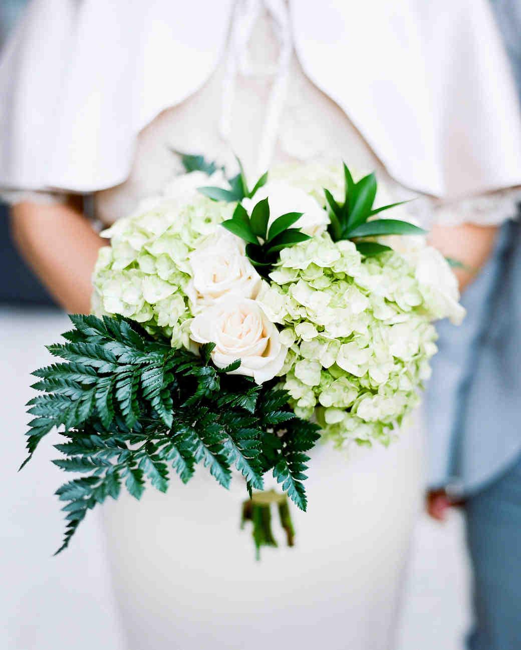 Fern Wedding Bouquet with Hydrangeas