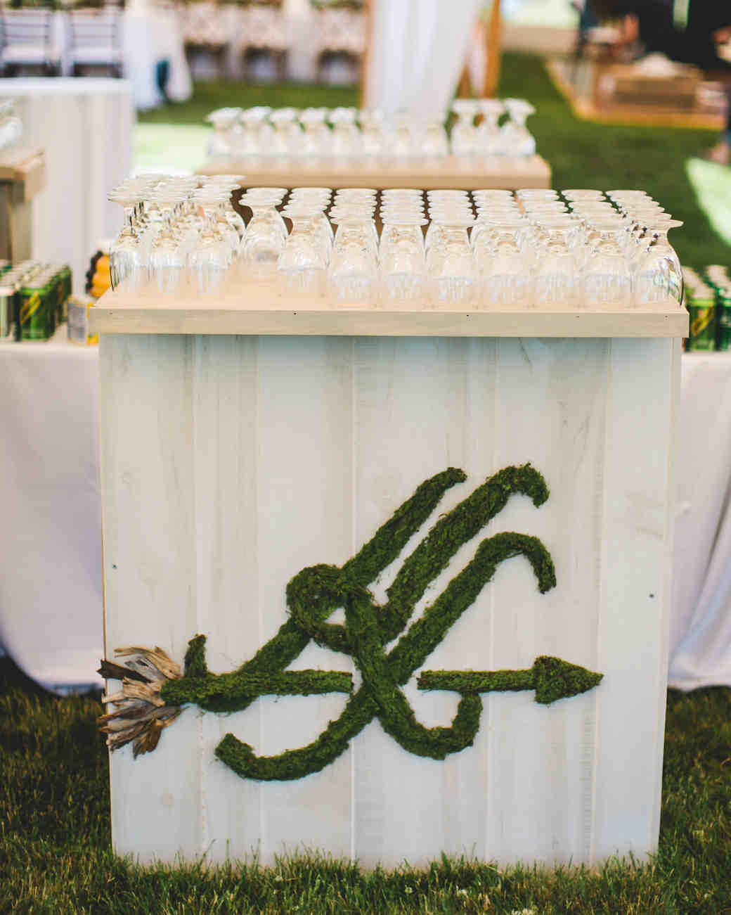 Mossy Monogrammed Wedding Bar