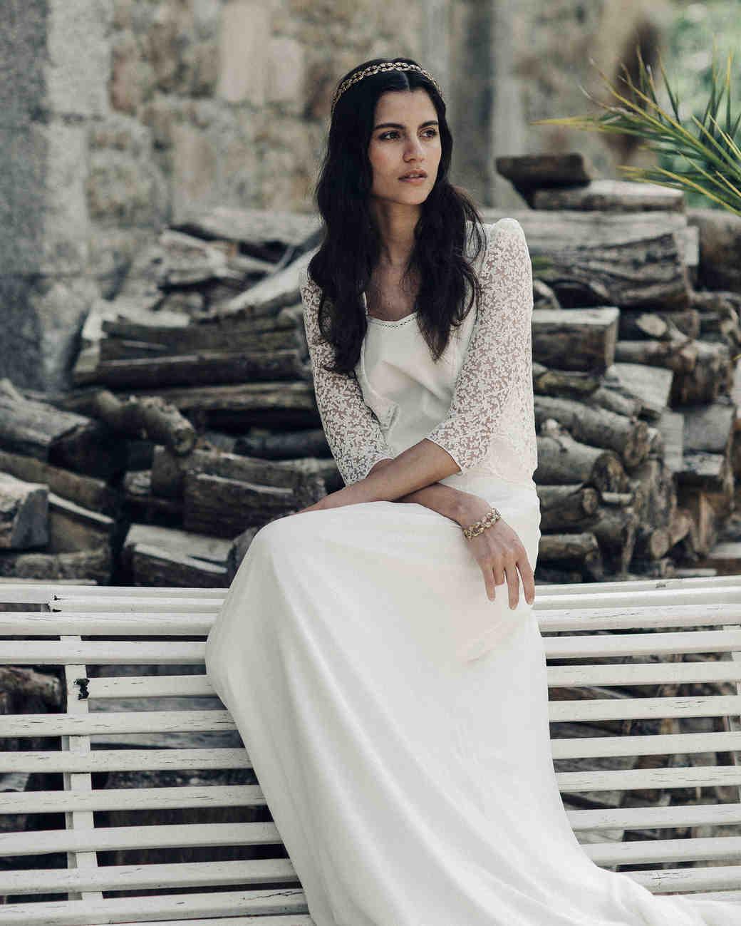 laure de sagazan long lace sleeve spring 2018 wedding dress