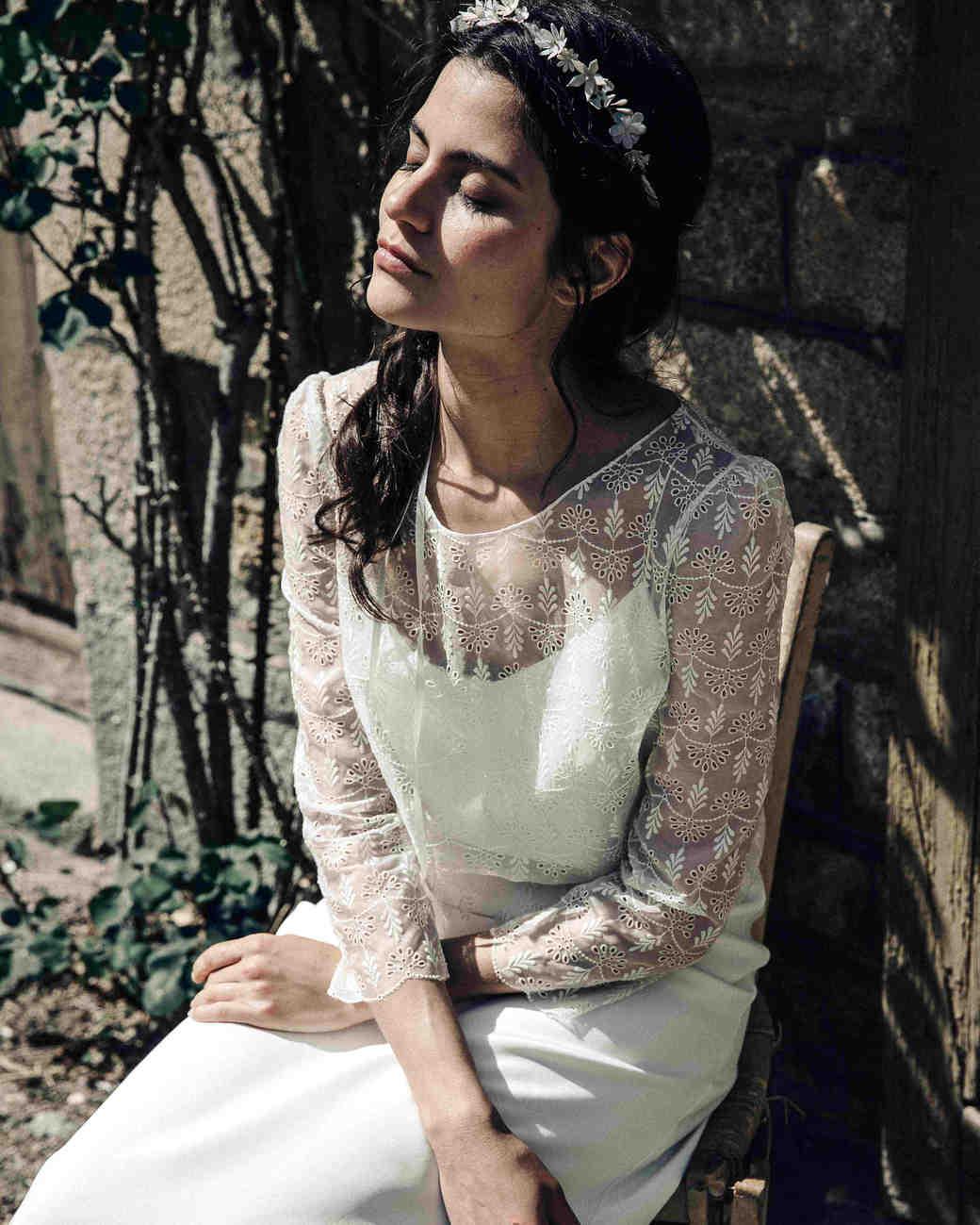 laure de sagazan lace long sleeve spring 2018 wedding dress