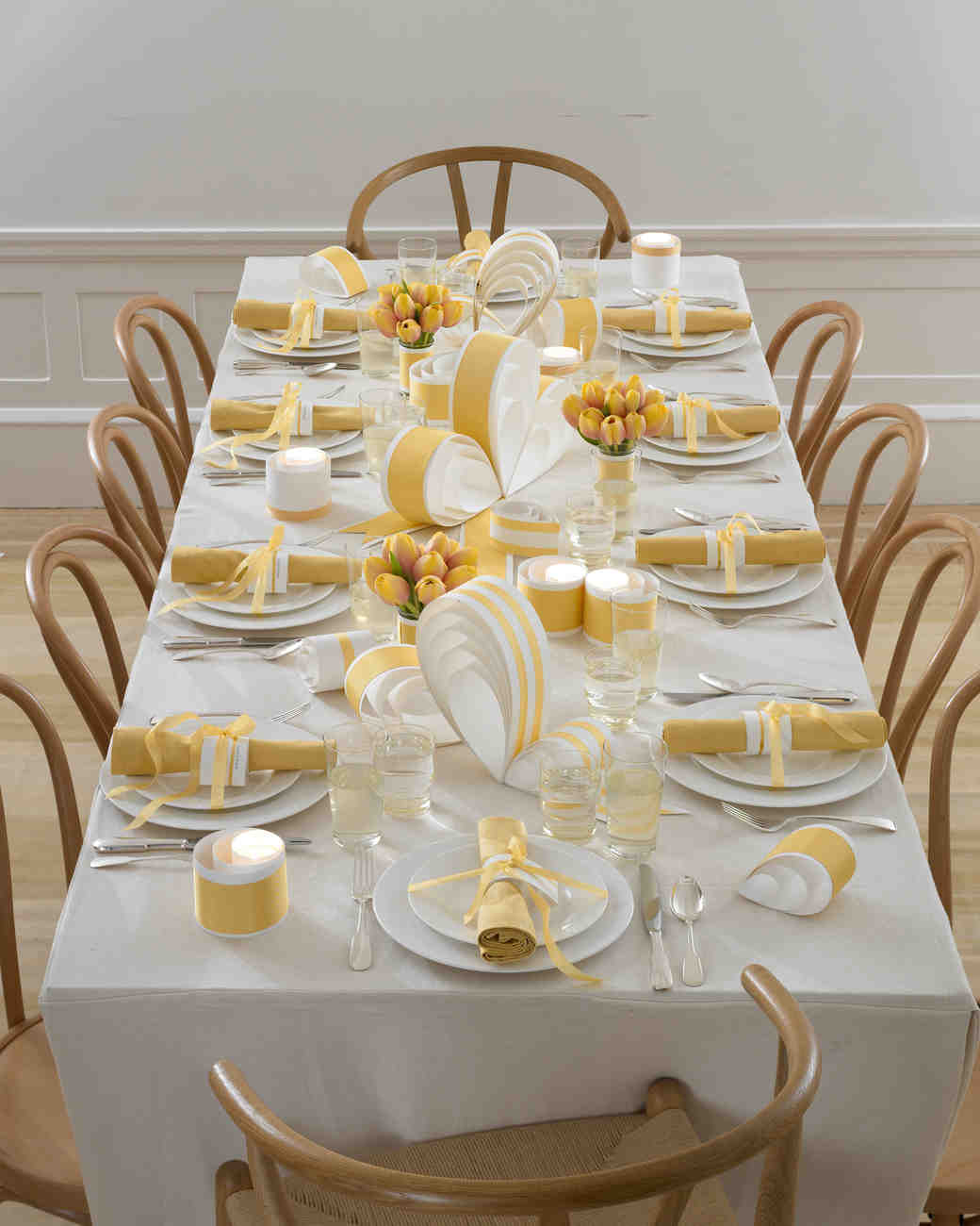 Yellow Bow Centerpieces