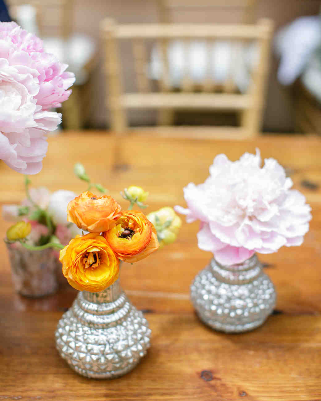 Silver Wedding Centerpieces with Flowers