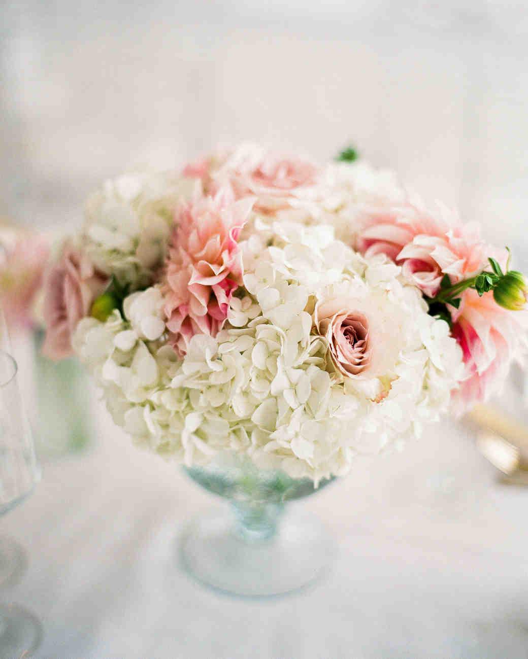 Pink dahlia and white hydrangea wedding centerpiece