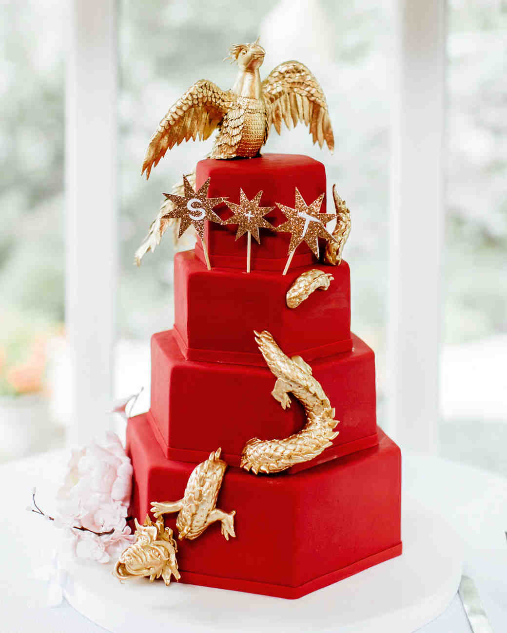 Red and Gold Chinese Wedding Cake