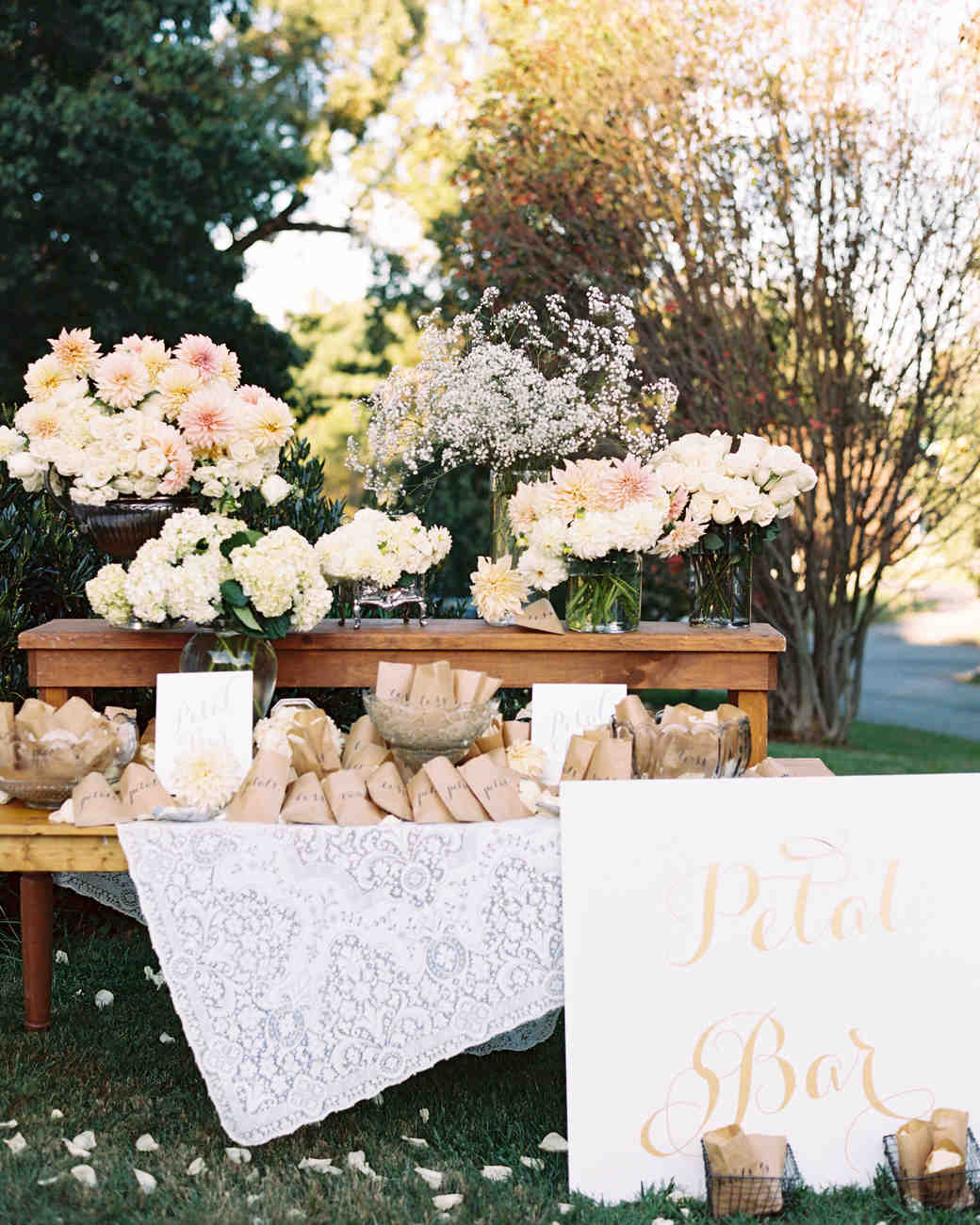 Wedding Ceremony Petal Bar with Sign, Bags of Flower Petals