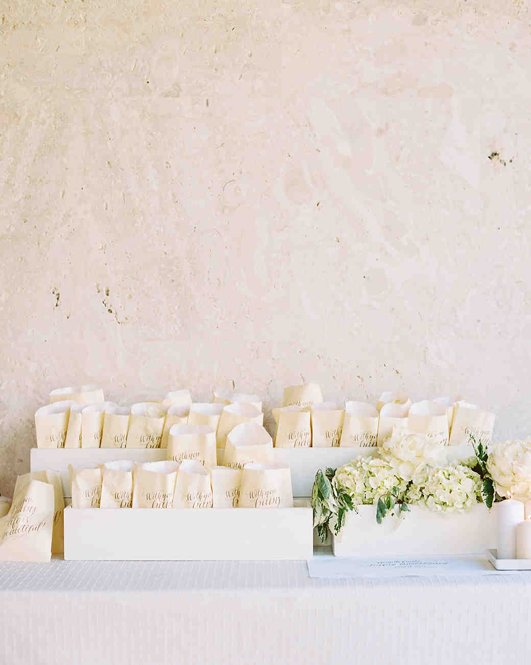 Wedding Flower Petal Bar, White Bags of Petals