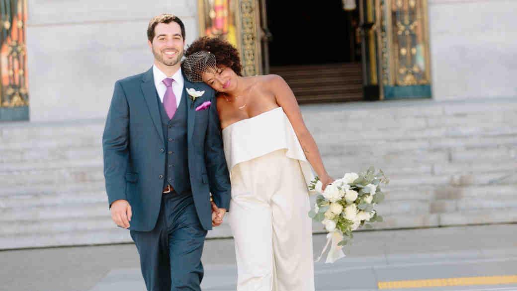 Bride in a Strapless Wedding Jumpsuit