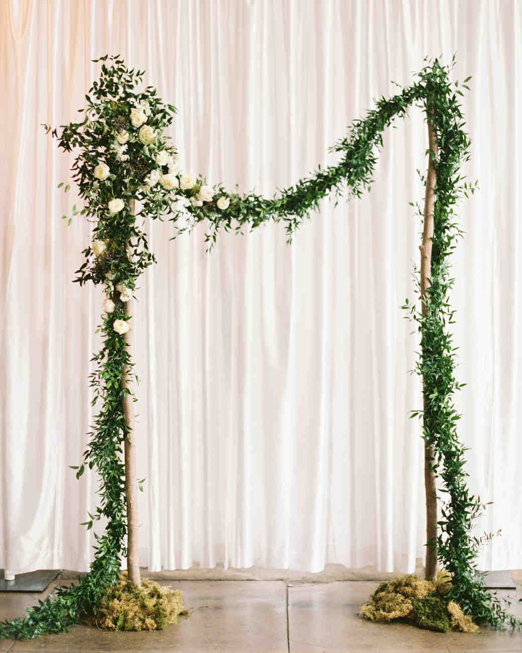White, Green, and Gold Wedding Arbor