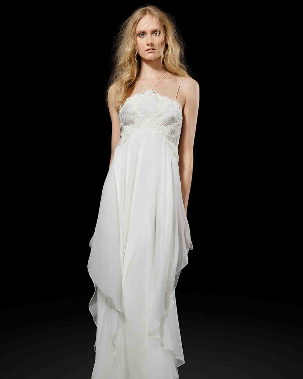 Elizabeth Fillmore Simple Chiffon Weding Dress