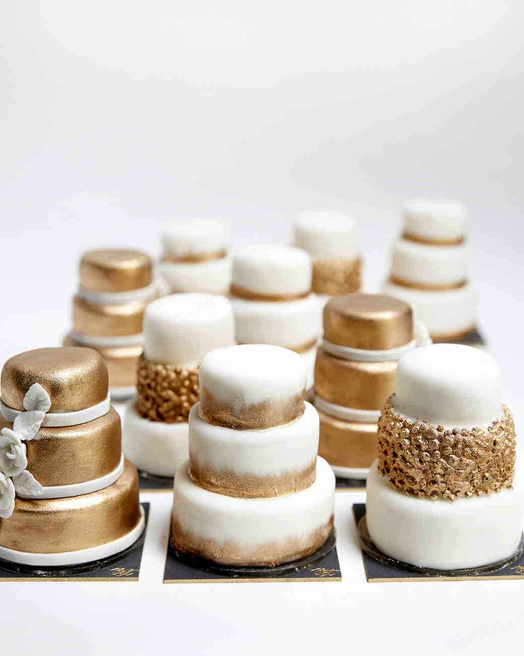 Individual Miniature Gold and White Wedding Cakes