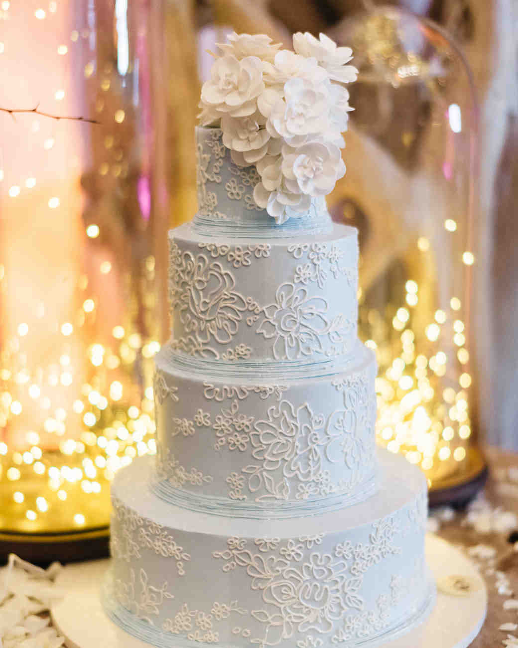 Blue Wedding Cake with White Lace Detail