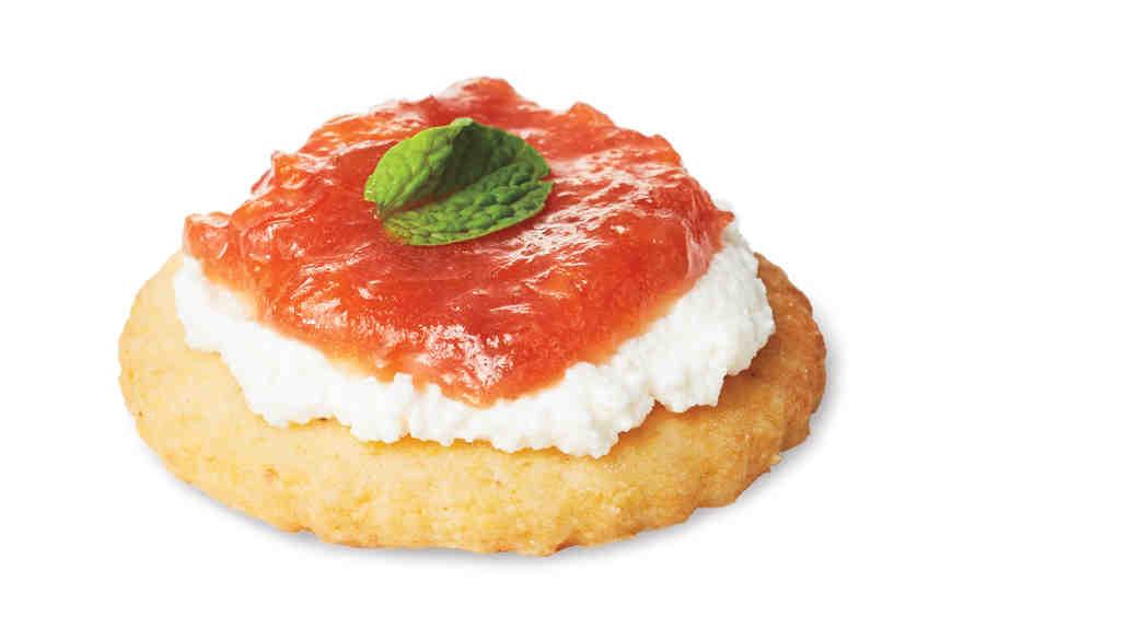Rhubarb Marmalade, Ricotta, and Mint on Corn Crackers