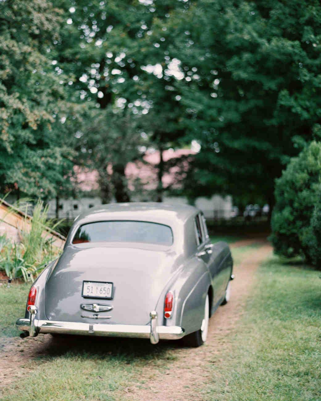 Silver Wedding Getaway Car