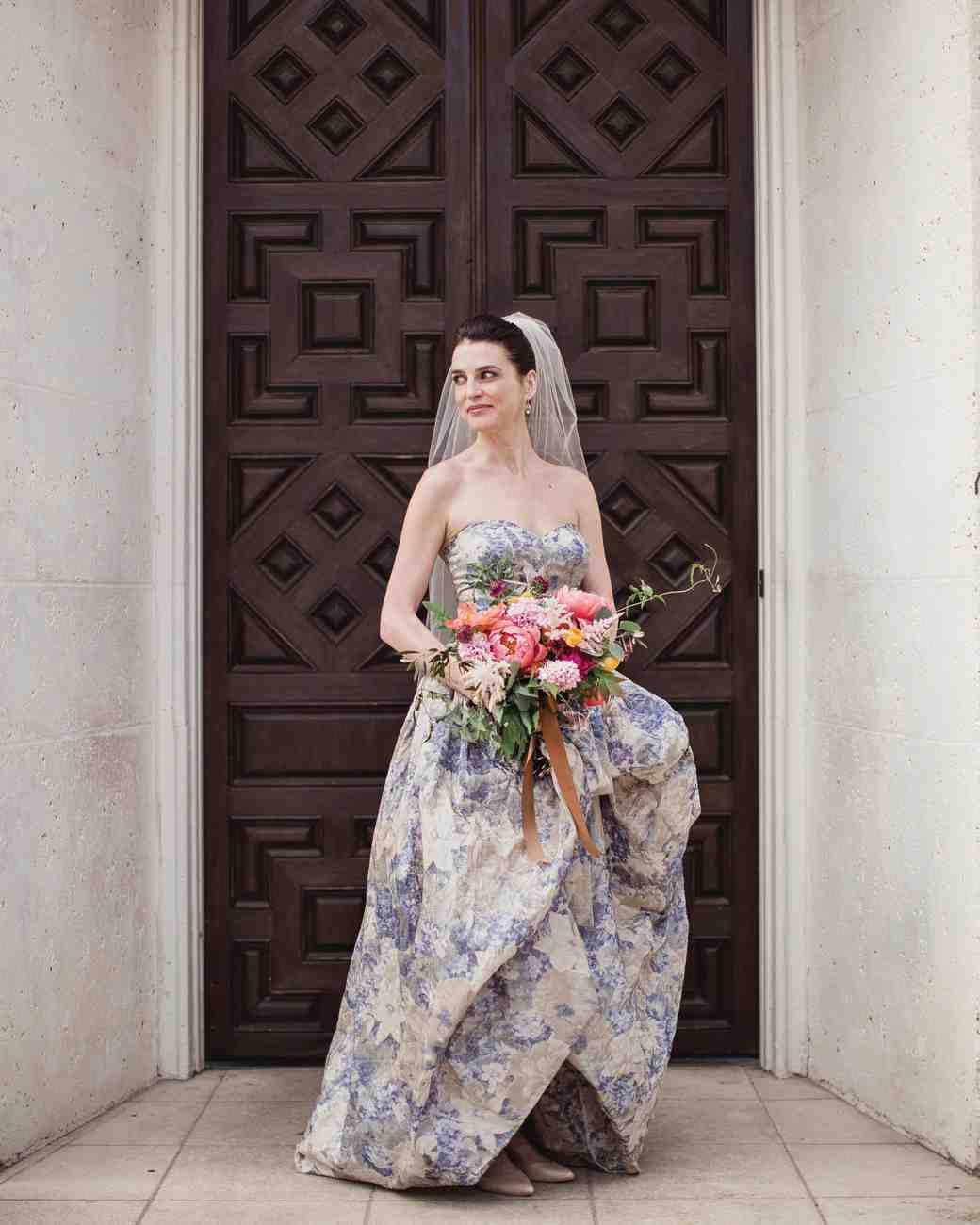 Blue and White Strapless Floral Wedding Gown
