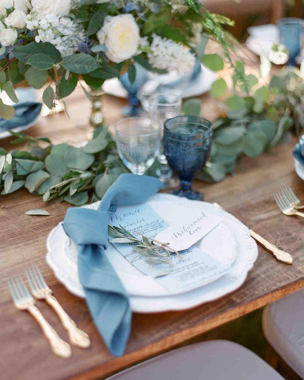 blue wedding plates table
