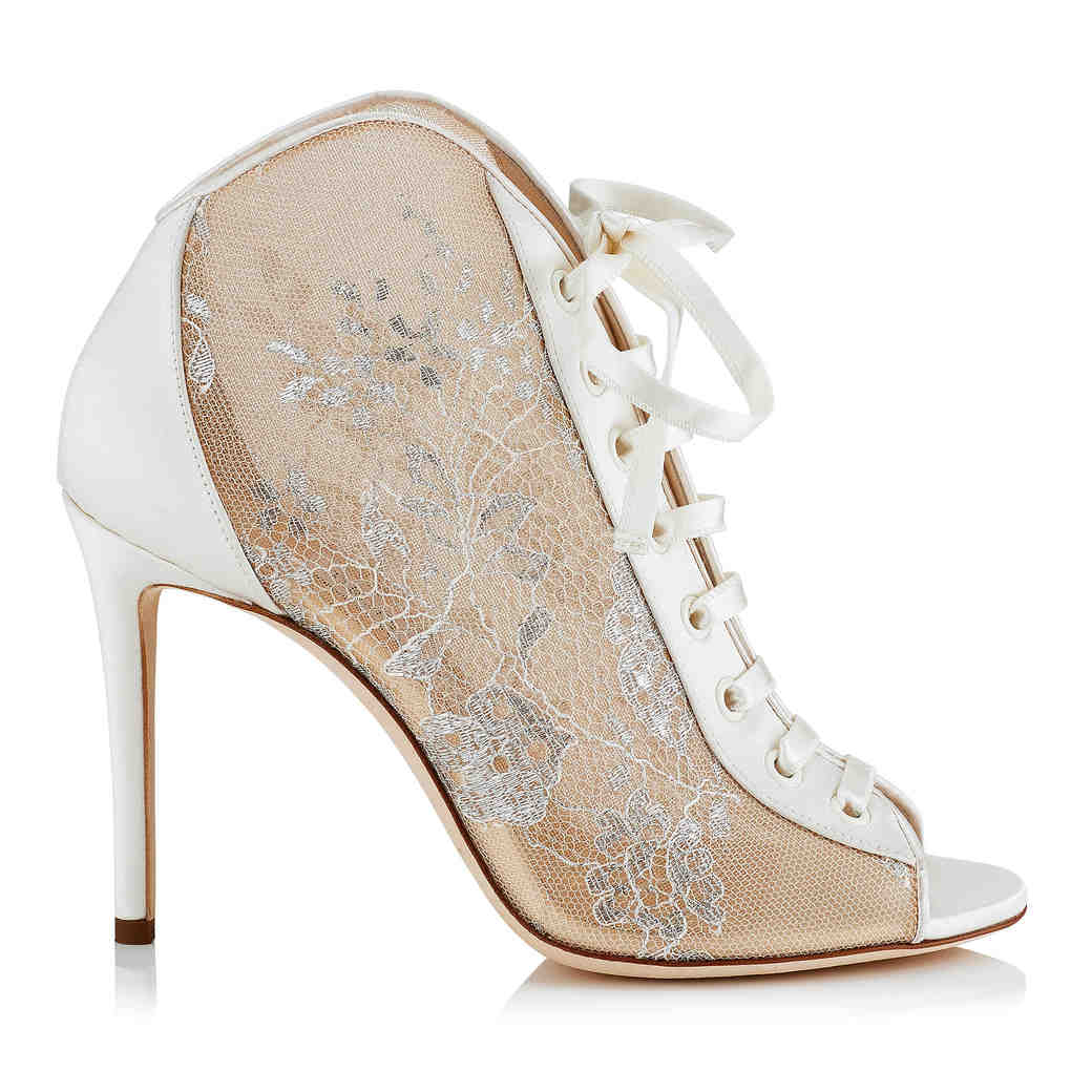 lace and satin peep-toe booties