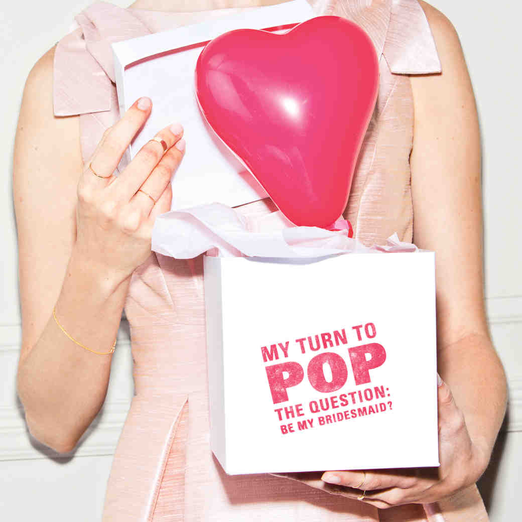 """Be My Bridesmaid"" Balloon-in-a-Box"