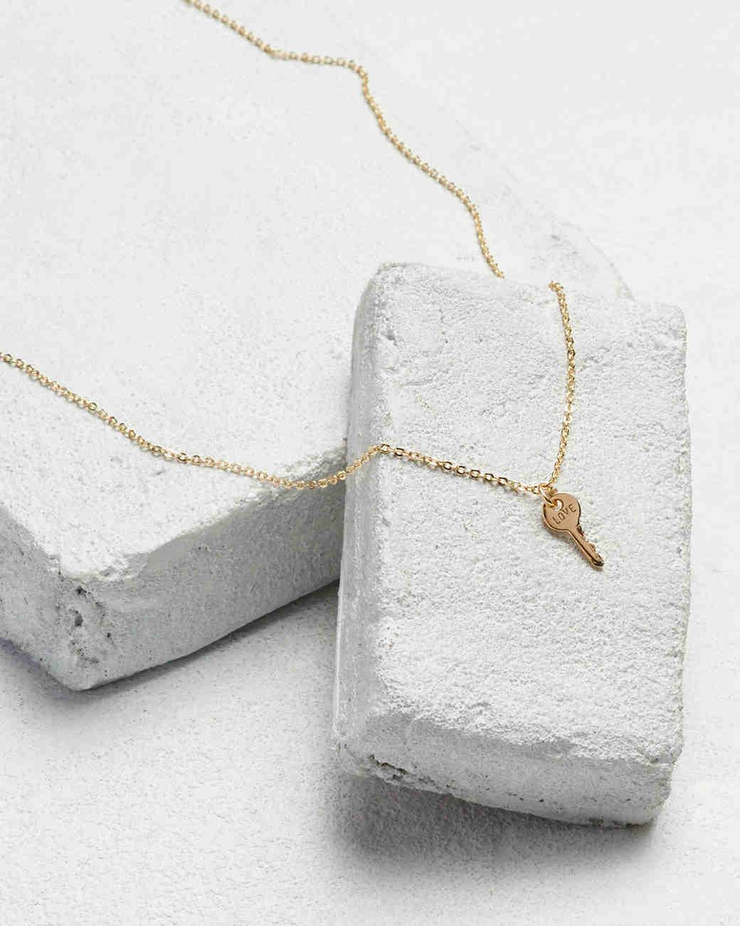Bridesmaids gift idea mini key necklace