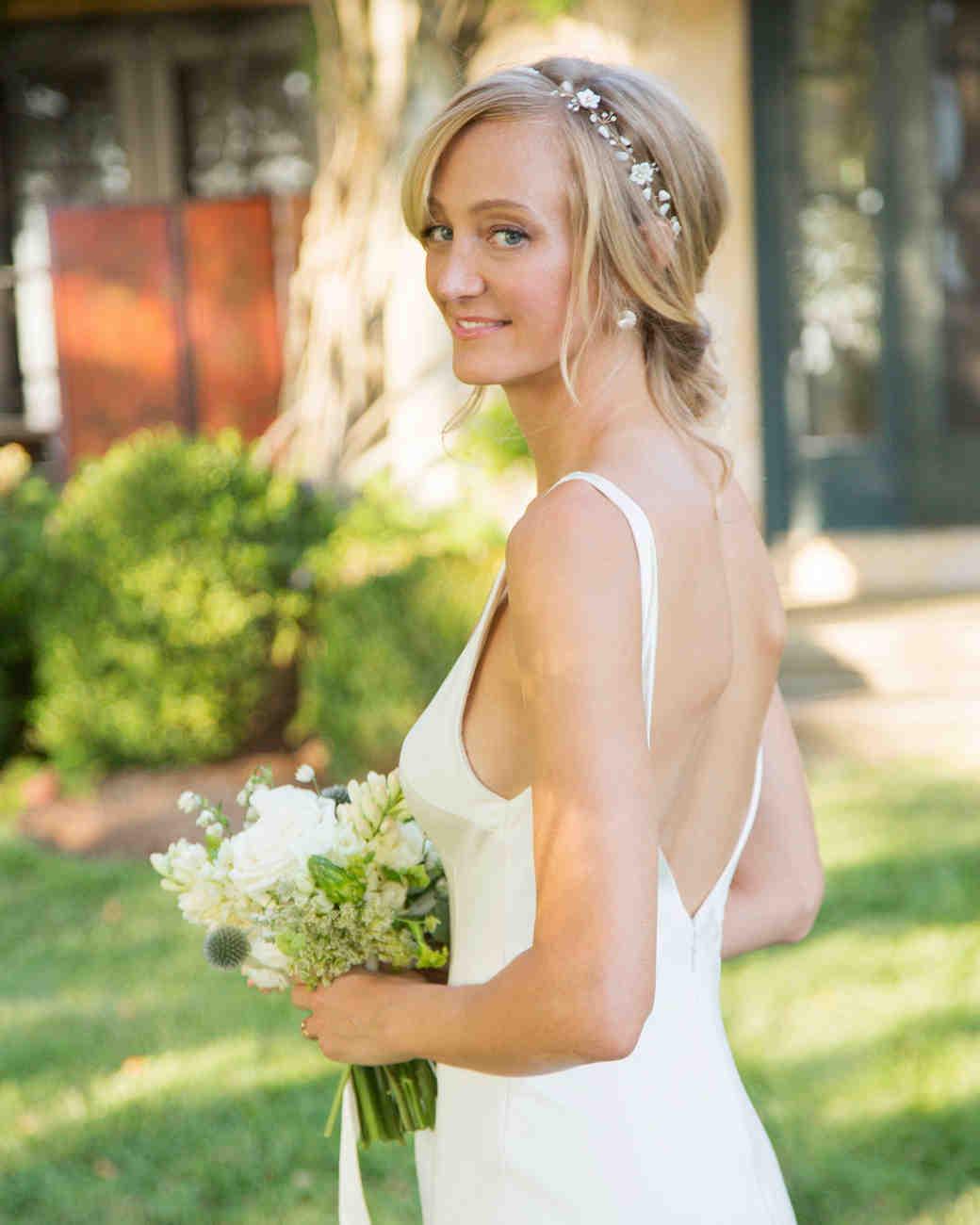 bride portrait v-neck gown wedding