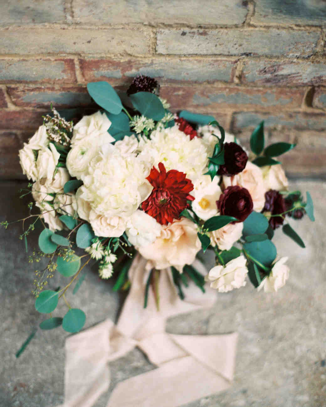 wedding bouquet with ribbon