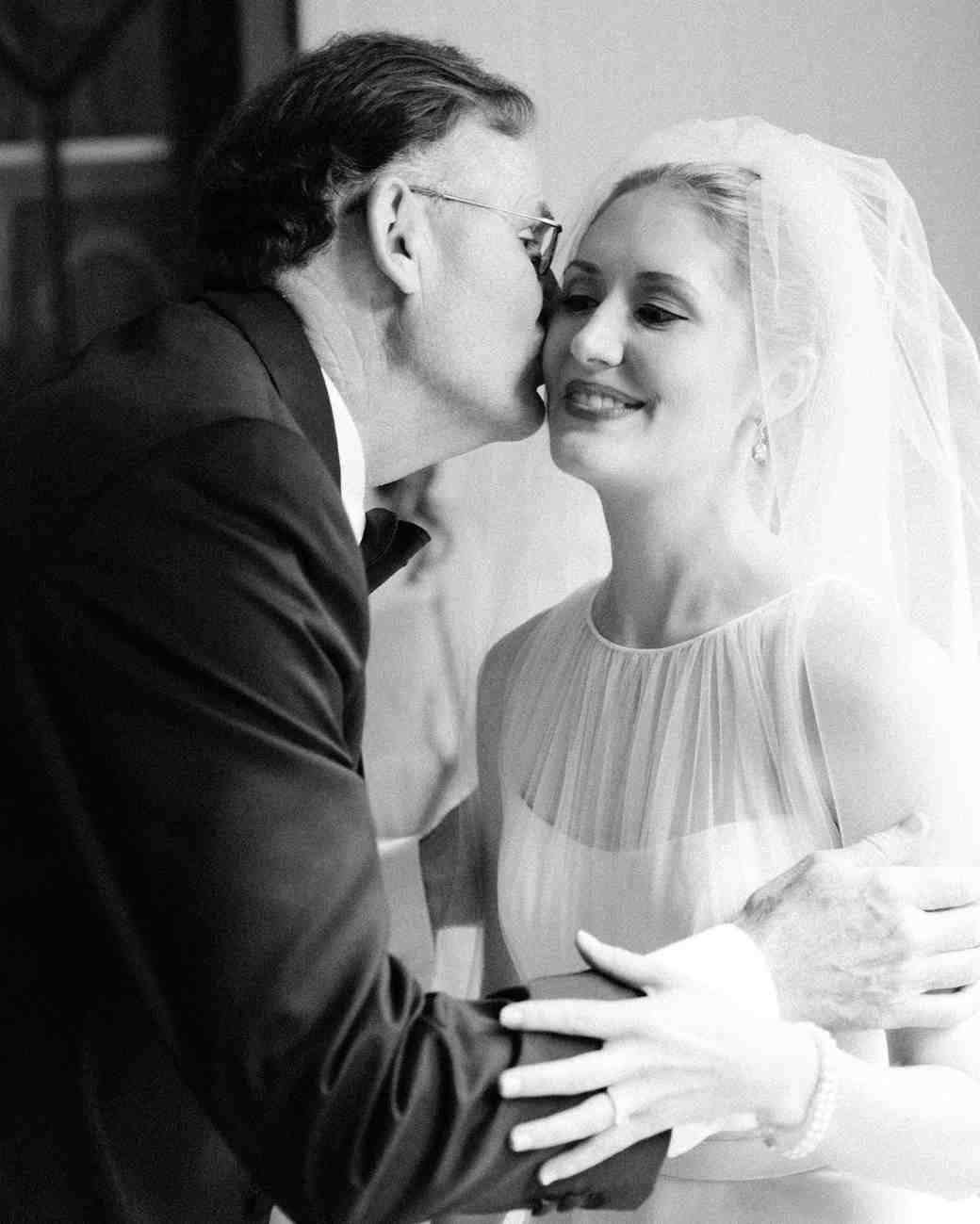 Father-Daughter Wedding Photos, Dad and Daughter Kiss