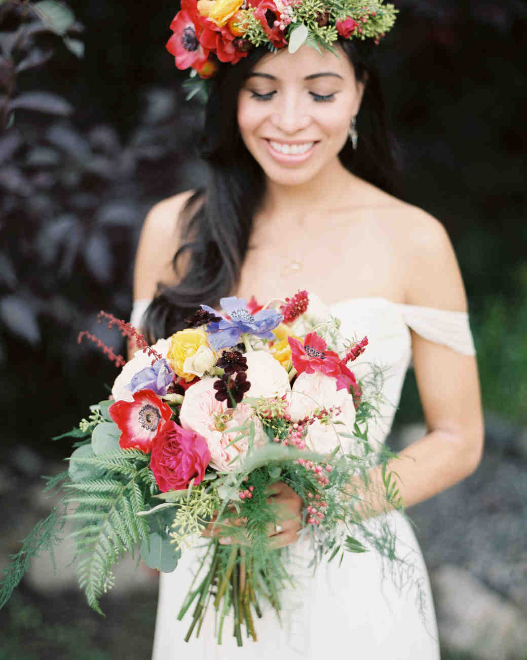 Fern Bouquet with Peonies and Anemones