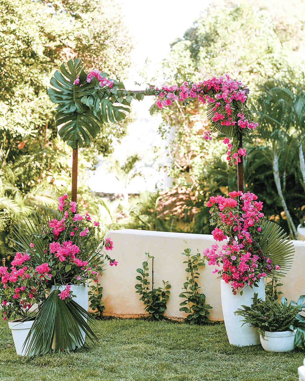 Tropical Pink and Green Wedding Arch