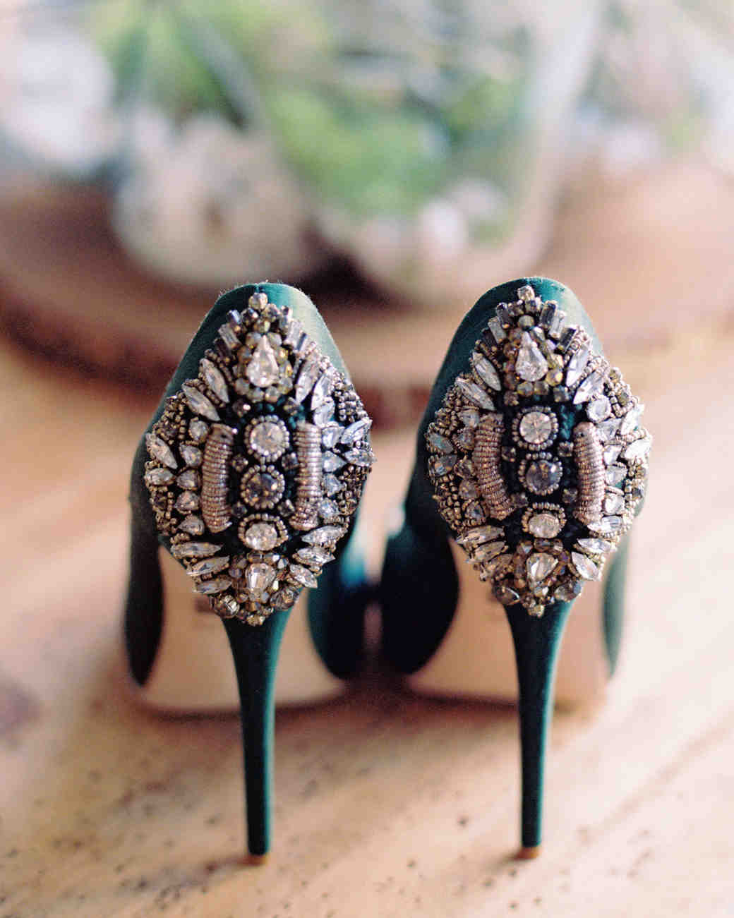 Green Heels with Crystals