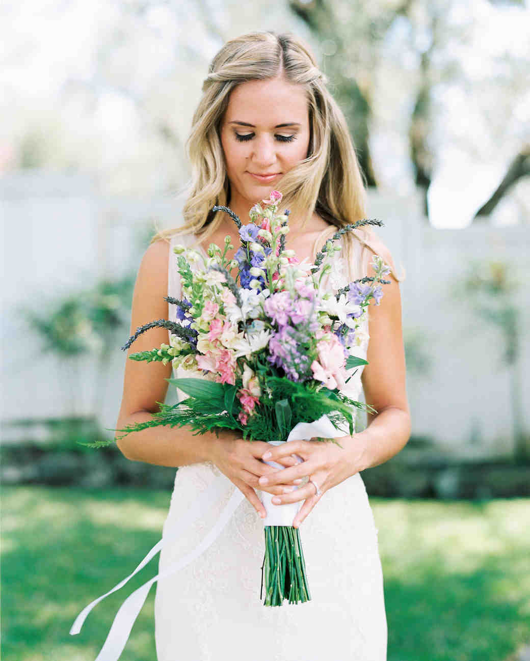 Bride Holding a Colorful Wedding Bouquet