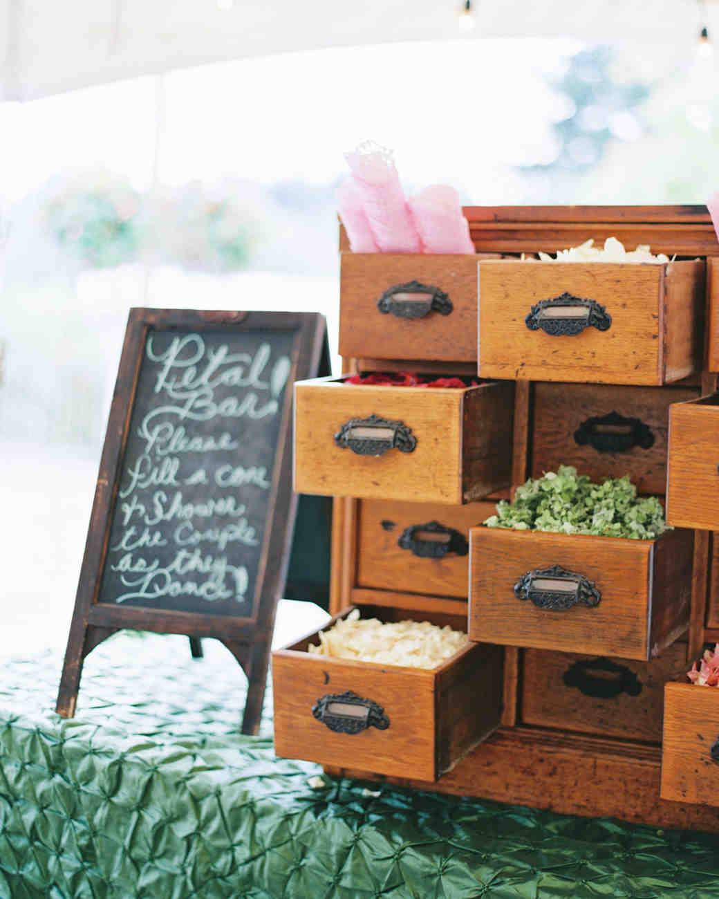 Wedding Flower Petal Bar, Card Catalogue with Petals