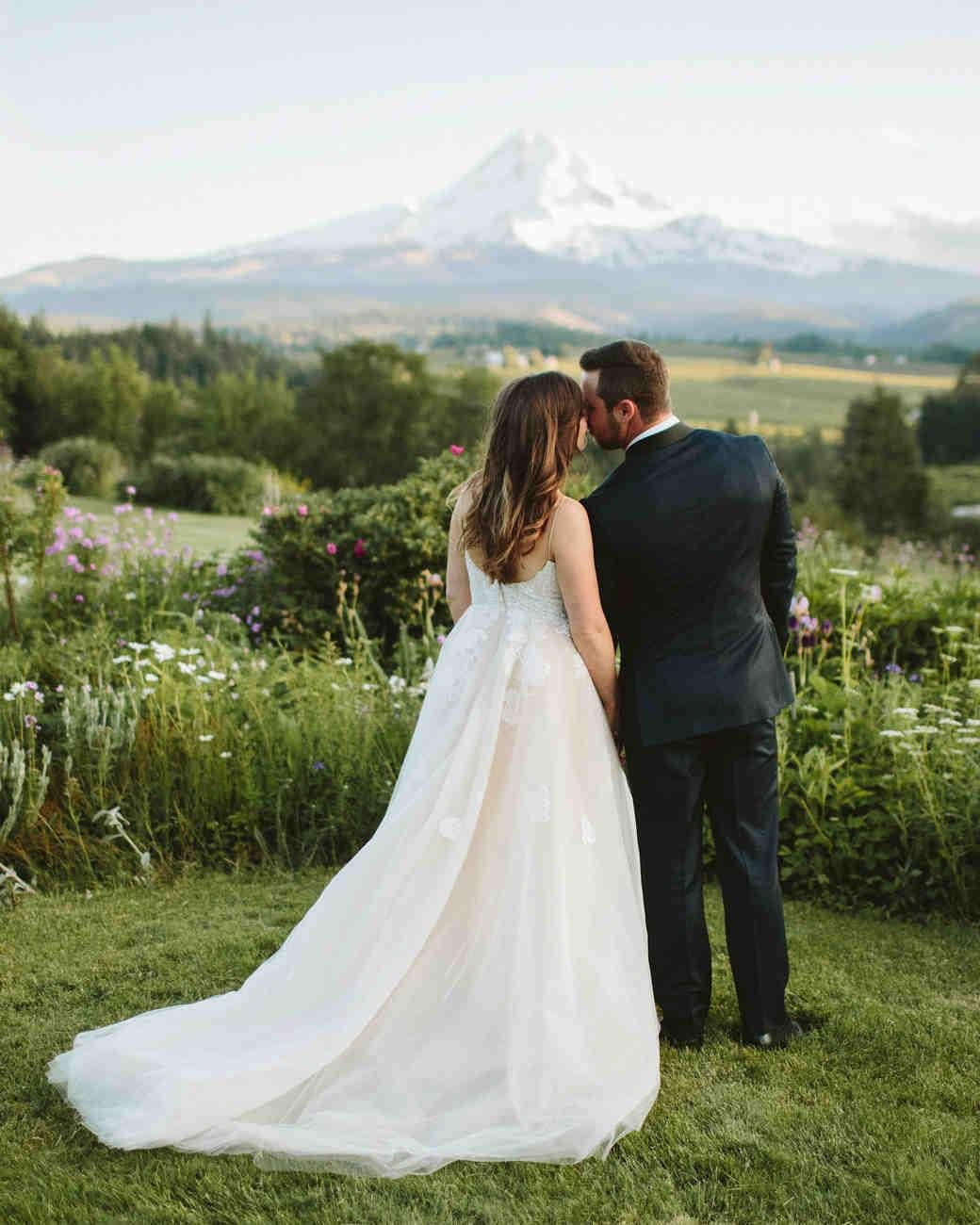 Wedding couple mountain background