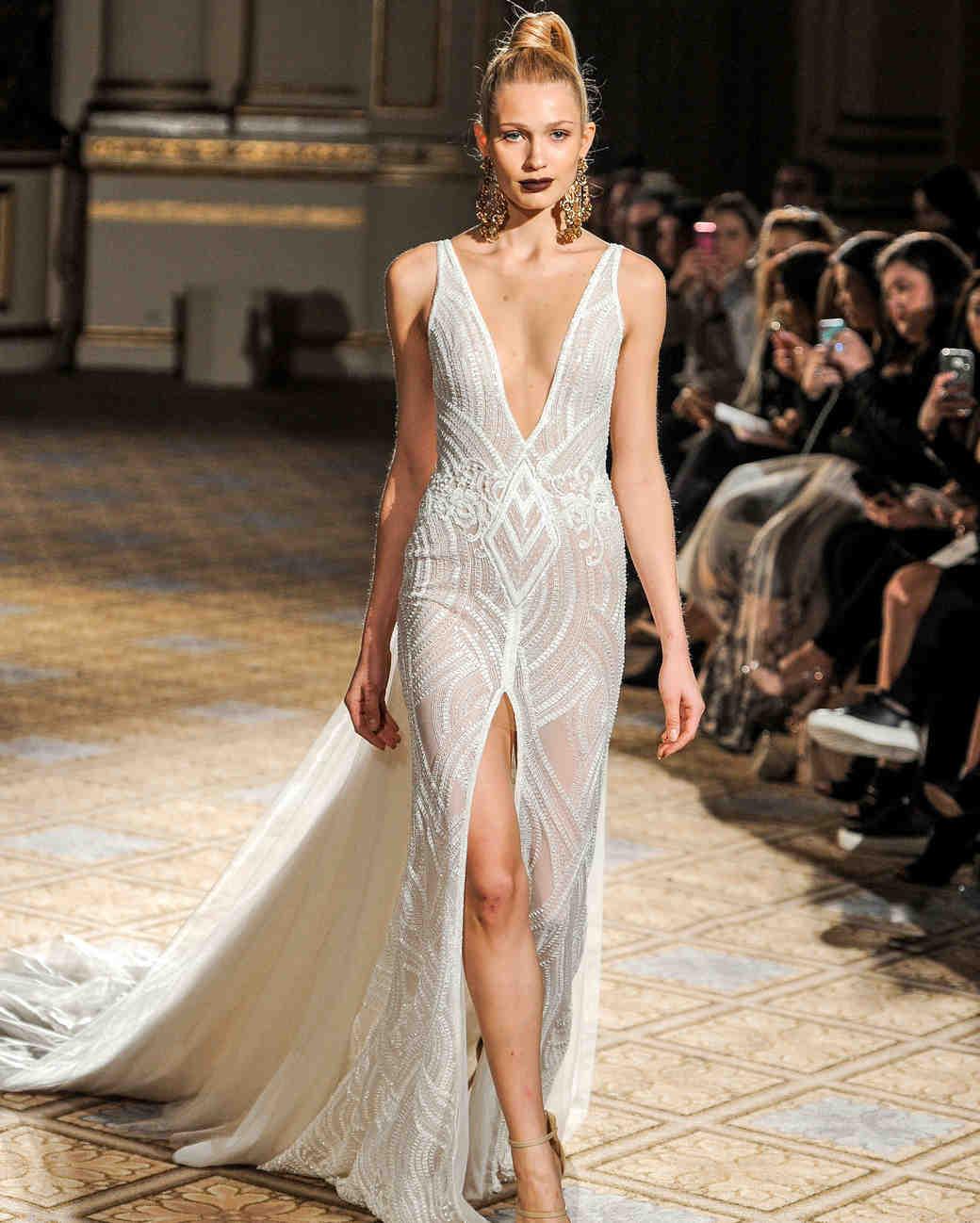 berta v-neck high slit wedding dress spring 2018