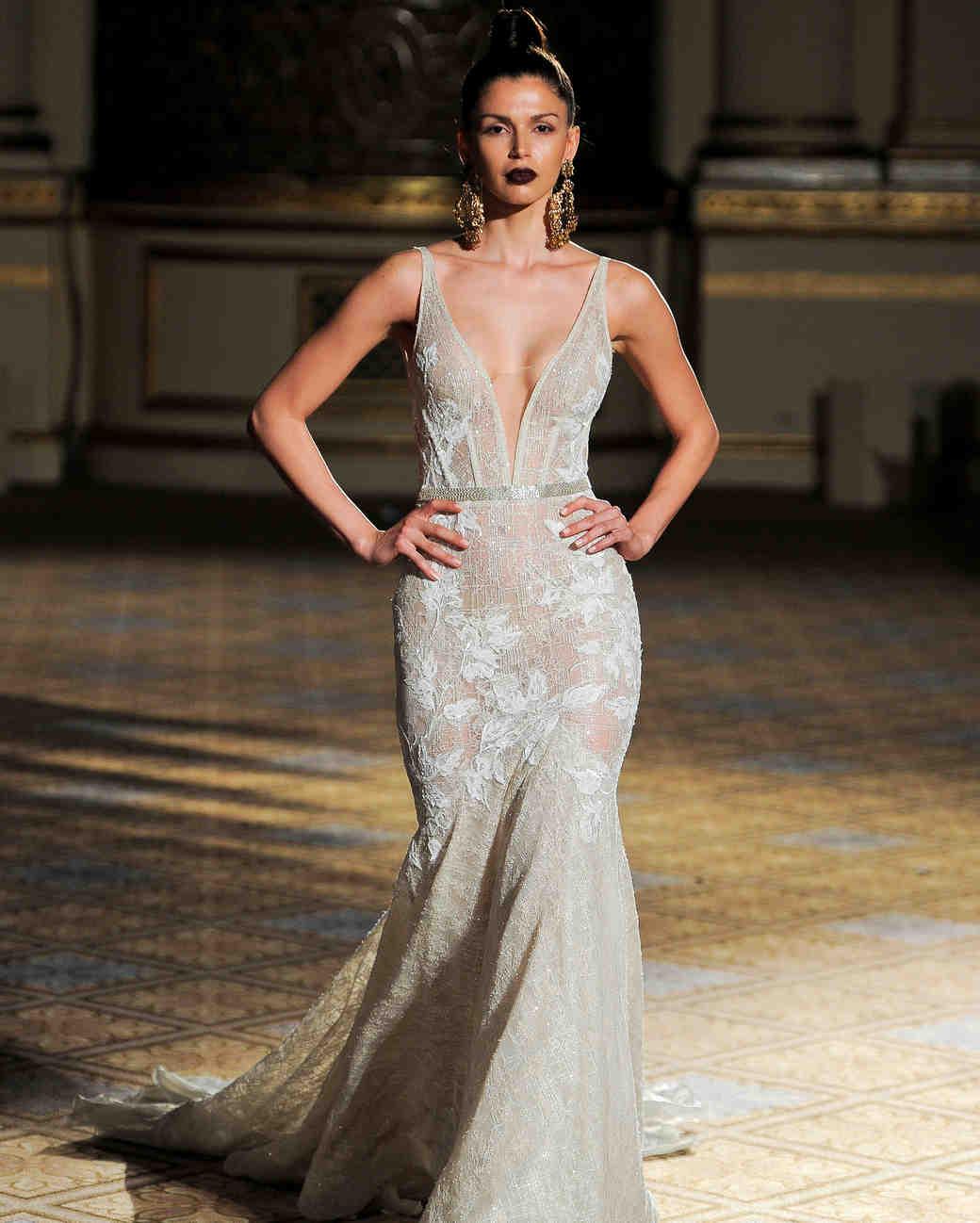 berta v-neck trumpet wedding dress spring 2018