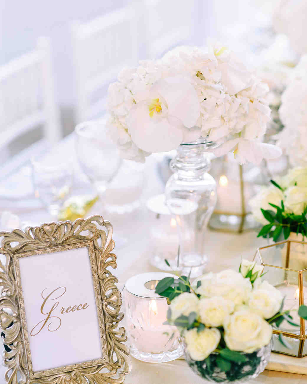White Orchid Cluster Centerpieces