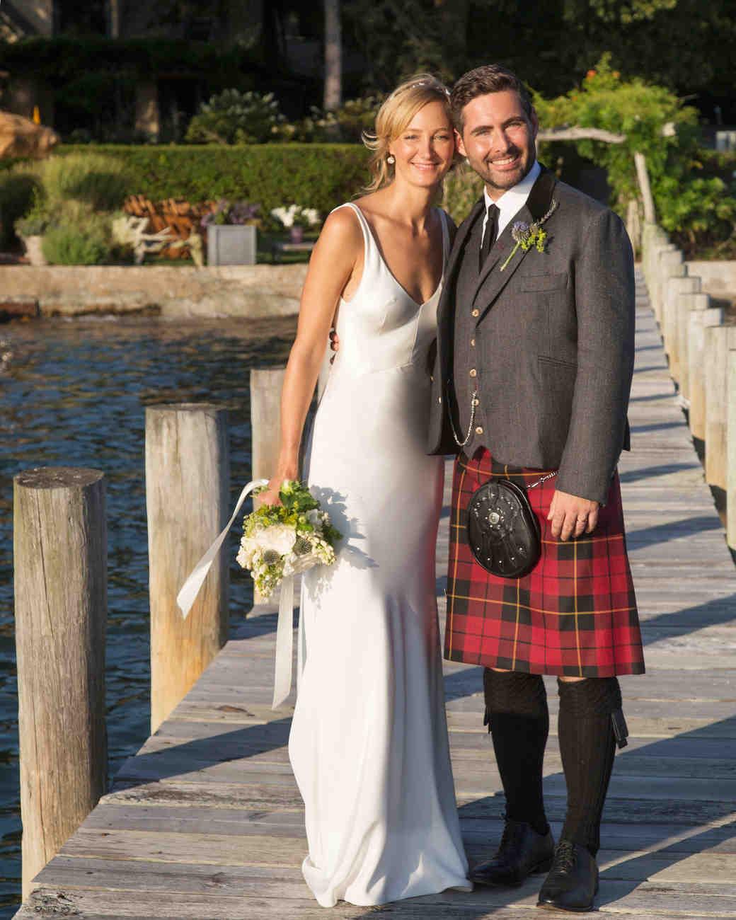 emily sam wedding couple kilt