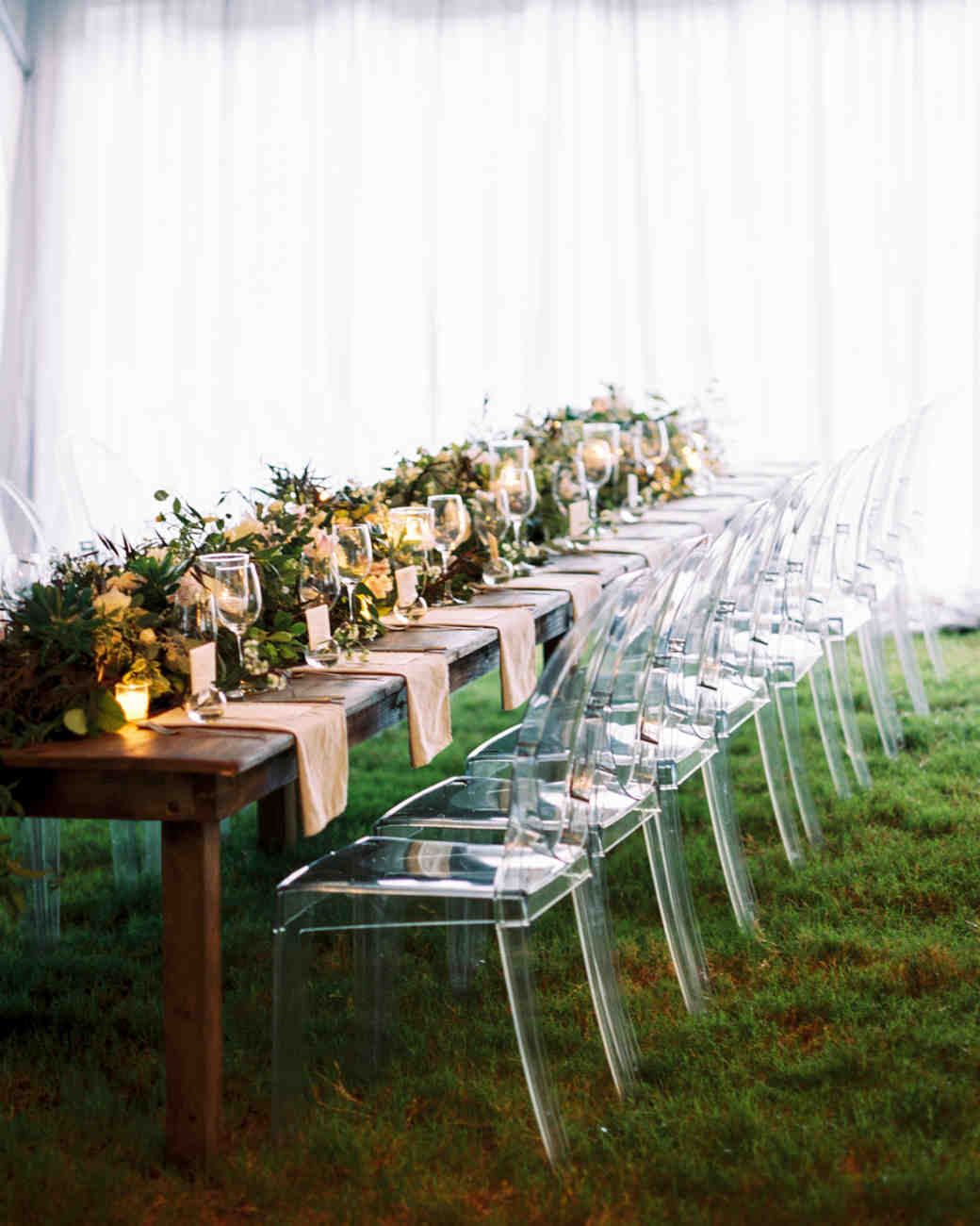 Long Wooden Reception Table with Lucite Chairs