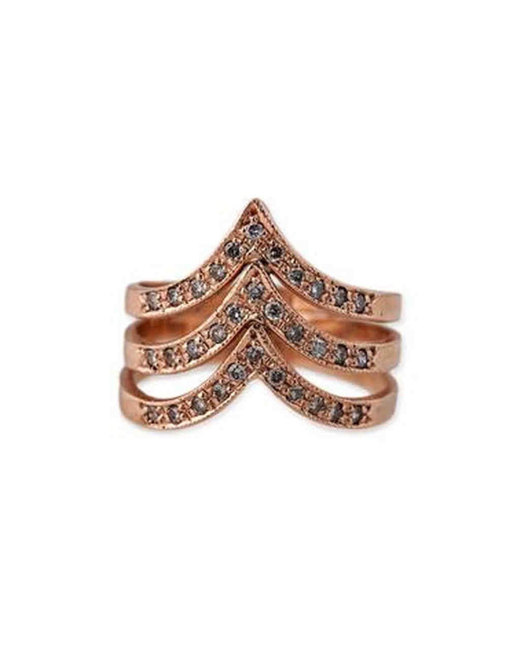 Jacquie Aiche Triple V Rose Gold Stackable Wedding Ring